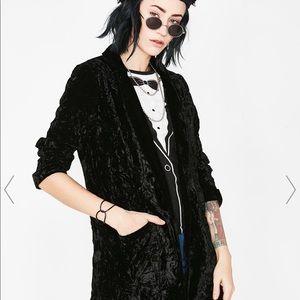 Current mood velvet long blazer